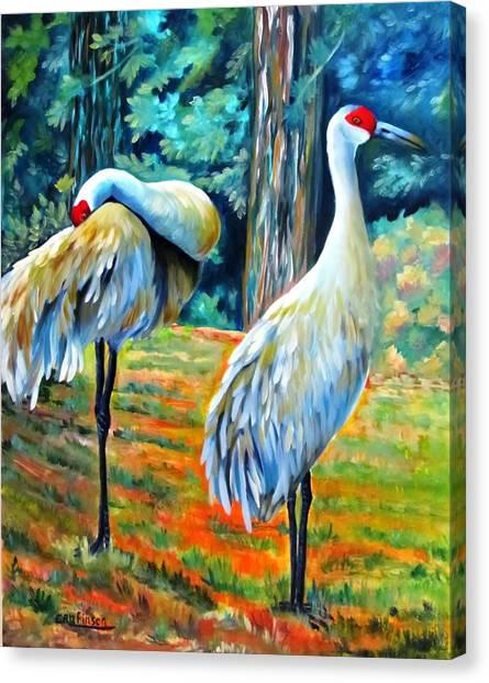 Sandhill Cranes At Twilight Canvas Print