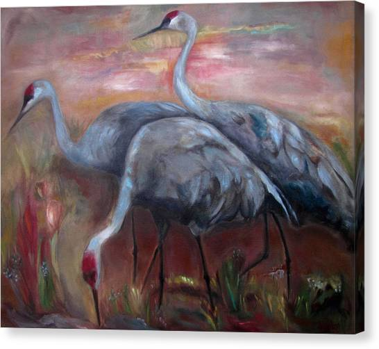 Florida Wildlife Canvas Print - Sandhill Cranes by Susan Hanlon