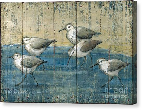 Sandpipers Canvas Print - Sandpipers Oil Distressed by Paul Brent