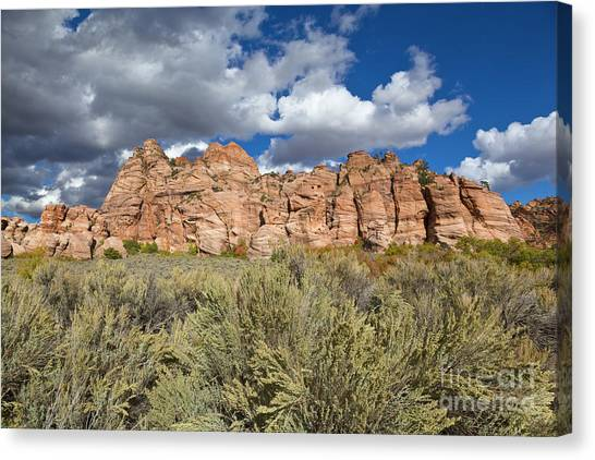 Sandstone And Clouds In Zion Natl Park Utah Canvas Print by Yva Momatiuk John Eastcott