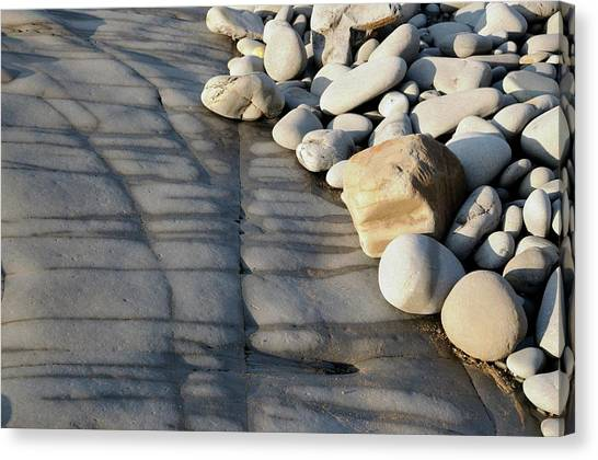 Beach Cliffs Canvas Print - Sandstone Rock At Low Tide by Jeremy Bishop/science Photo Library