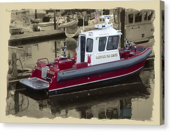 Sandwich Cape Cod Fire Rescue Boat Canvas Print