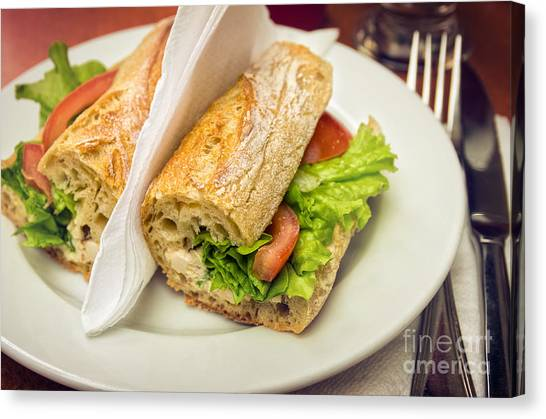 Sandwich Canvas Print - Sandwish On Table by Carlos Caetano