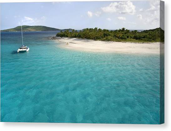 Catamarans Canvas Print - Sandy Cay Bvi by Bryan Allen