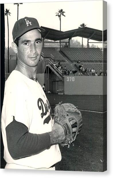 Los Angeles Dodgers Canvas Print - Sandy Koufax Photo Portrait by Gianfranco Weiss