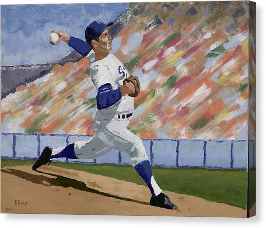 Sandy Koufax Canvas Print by Ron Gibbs