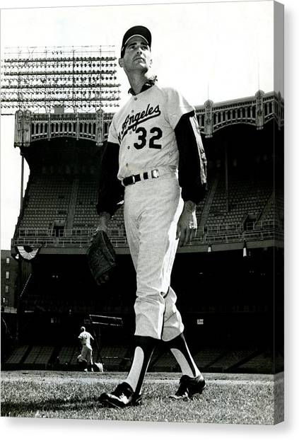 Mlb canvas print sandy koufax vintage baseball poster by gianfranco weiss