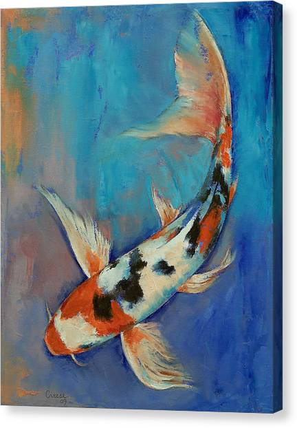 Japanese Gardens Canvas Print - Sanke Butterfly Koi by Michael Creese