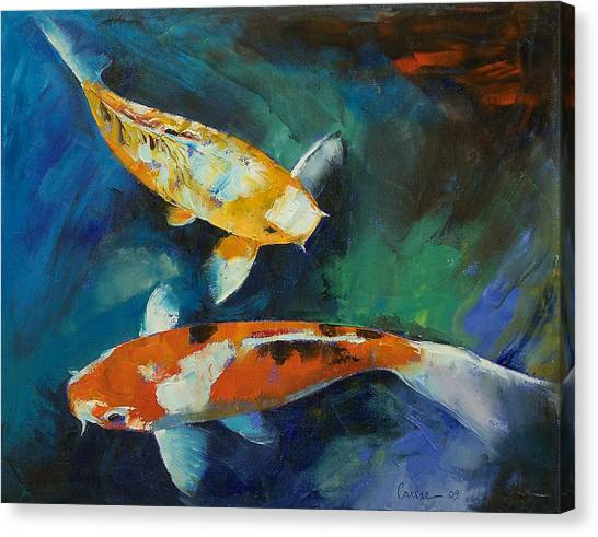 Koi Canvas Print - Sanke Koi Painting by Michael Creese
