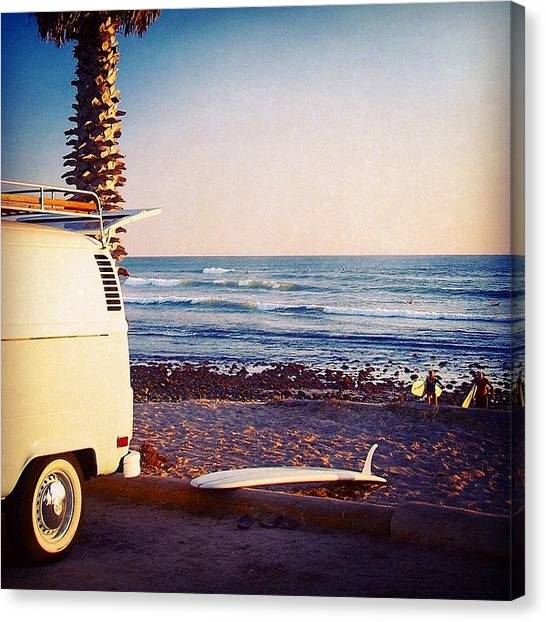 Vw Bus Canvas Print - Vw Bus And Surfers At San Onofre by Hal Bowles