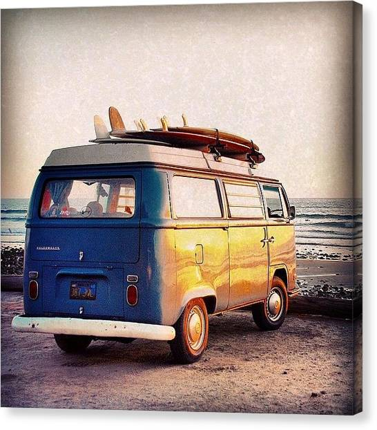 Vw Bus Canvas Print - Surf Parking by Hal Bowles