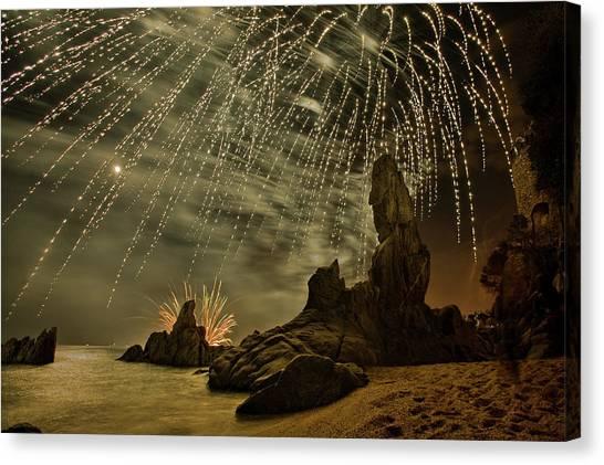 Fireworks Canvas Print - Sant Joan Feast  2 by Jordi Gallego