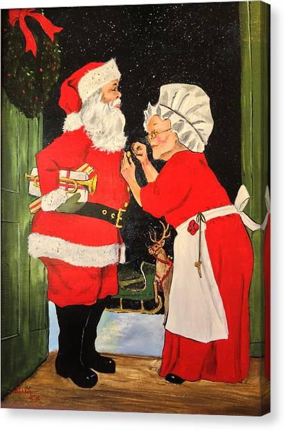 Santa And Mrs Canvas Print