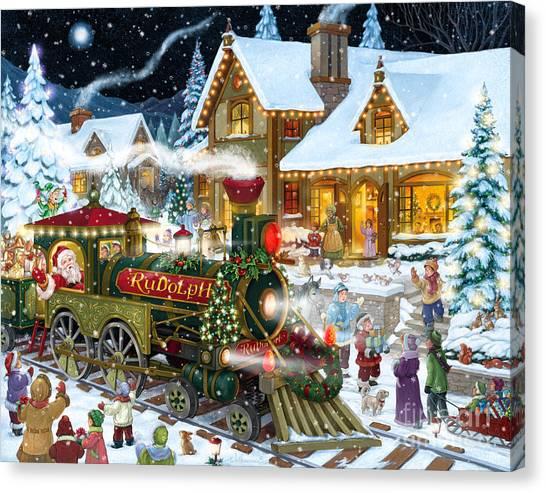 Santa Arrives In Rudolph Train Canvas Print