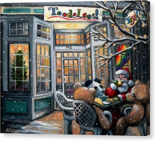 Santa At Toodeloos Toy Store Canvas Print