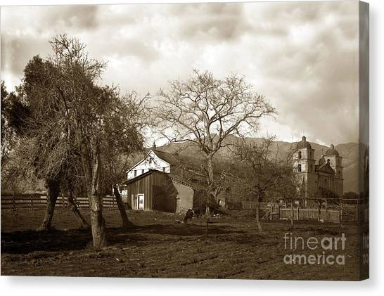 Santa Barbara Mission California Circa 1890 Canvas Print