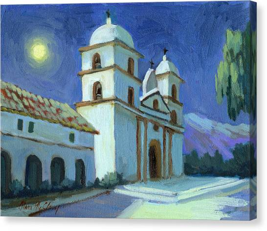 Missions California Canvas Print - Santa Barbara Mission Moonlight by Diane McClary