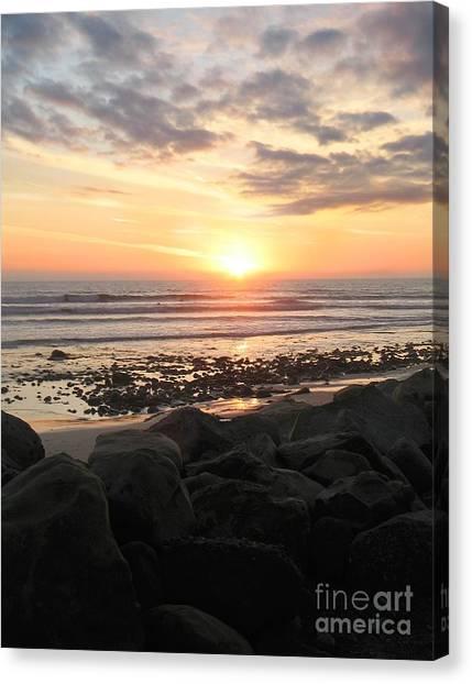 Ocean Sunsets Canvas Print - Santa Barbara Sunset by Stu Shepherd