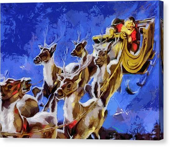Santa Claus And Reindeer Canvas Print