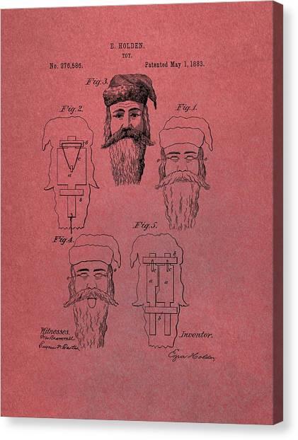 Santa Claus Canvas Print - Santa Claus Mask Patent Red by Dan Sproul