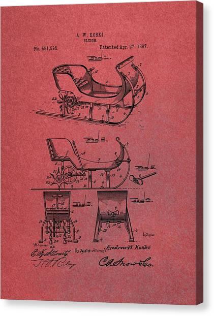 Santa Claus Canvas Print - Santa Claus Sleigh Patent Red by Dan Sproul