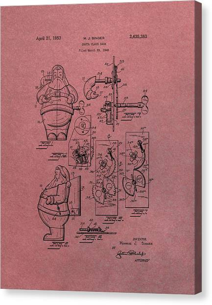 Santa Claus Canvas Print - Santa Clause Toy Patent by Dan Sproul