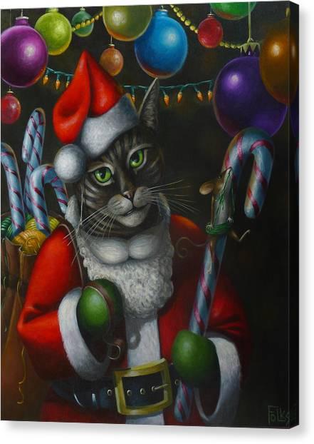 Grinch Canvas Print - Santa Claws by Eva Folks