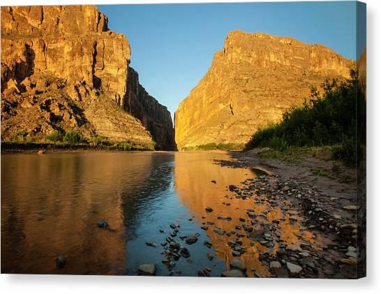 Rio Grande River Canvas Print - Santa Elena Canyon And Rio Grande by Larry Ditto