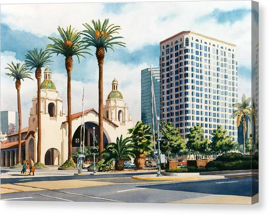 Railroads Canvas Print - Santa Fe Depot San Diego by Mary Helmreich
