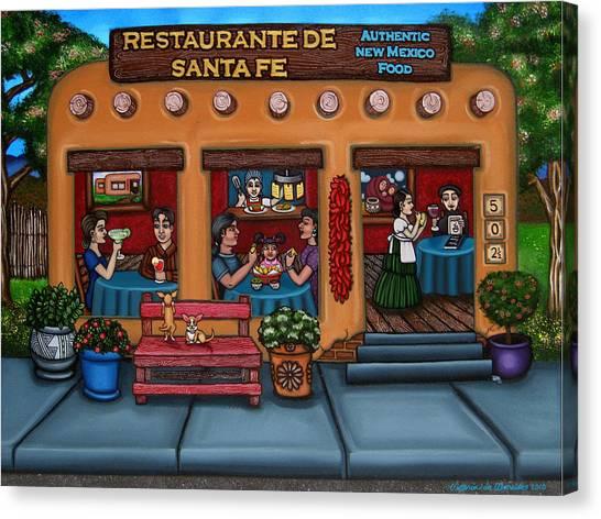Diners Canvas Print - Santa Fe Restaurant by Victoria De Almeida