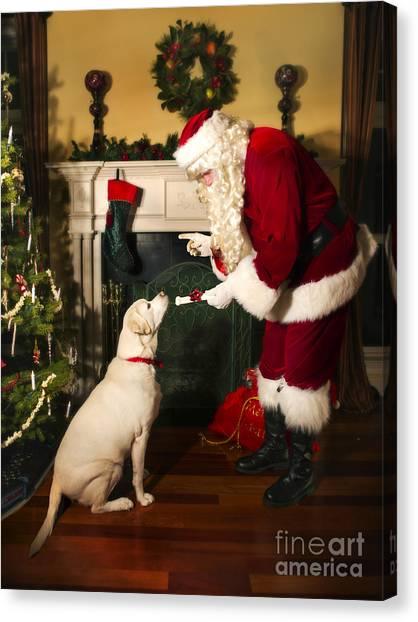 Santa Claus Canvas Print - Santa Giving The Dog A Gift by Diane Diederich