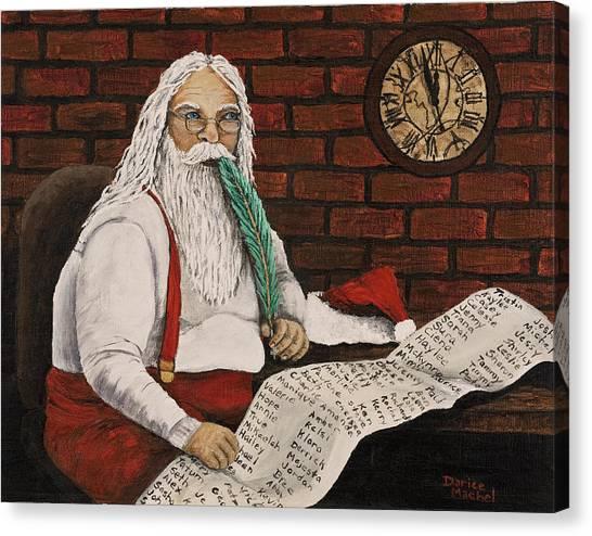 Santa Is Checking His List Canvas Print