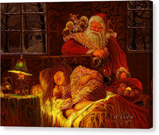 Santa Loves Cookies Canvas Print