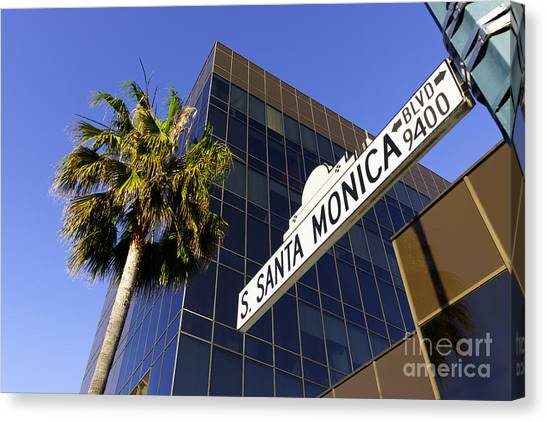 Beverly Hills Canvas Print - Santa Monica Blvd Sign In Beverly Hills California by Paul Velgos