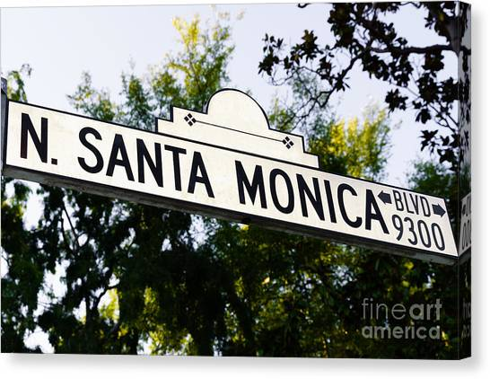 Beverly Hills Canvas Print - Santa Monica Blvd Street Sign In Beverly Hills by Paul Velgos