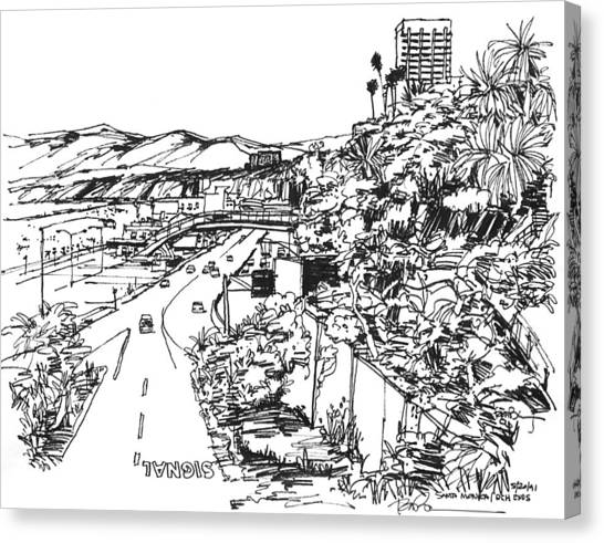 Santa Monica Ca - Pacific Coast Highway Starts Here Canvas Print