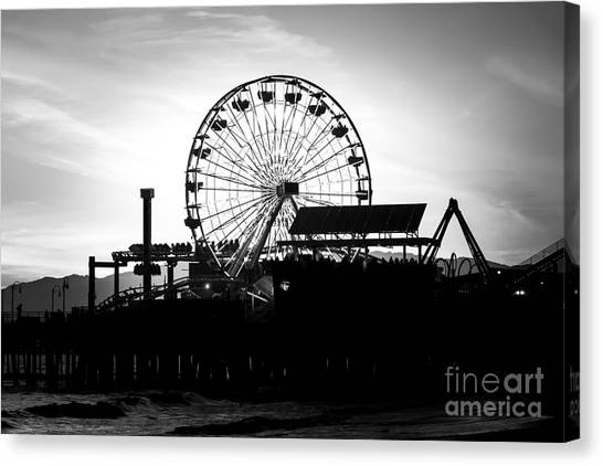 Santa Monica Pier Canvas Print - Santa Monica Ferris Wheel Black And White Photo by Paul Velgos