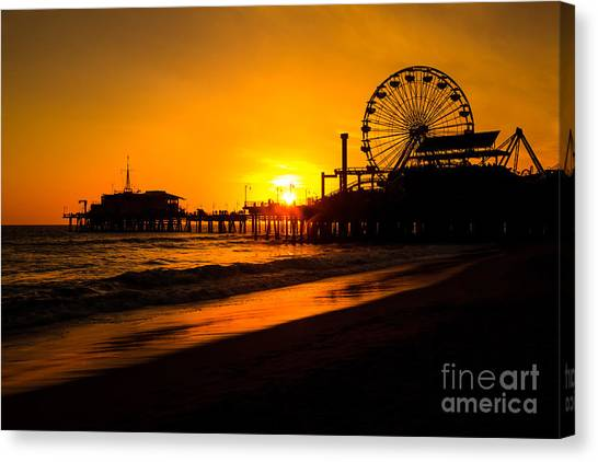Santa Monica Pier Canvas Print - Santa Monica Pier California Sunset Photo by Paul Velgos