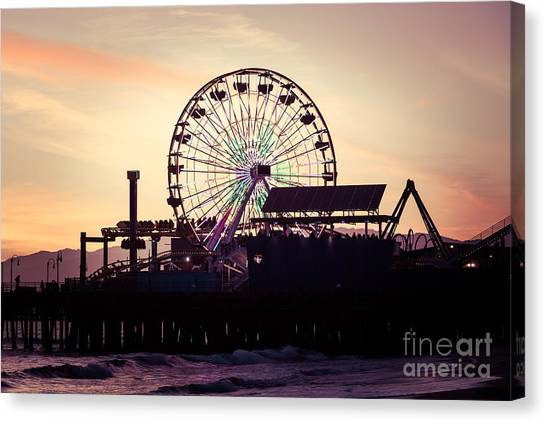 Santa Monica Pier Canvas Print - Santa Monica Pier Ferris Wheel Retro Photo by Paul Velgos