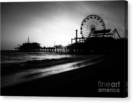 Santa Monica Pier Canvas Print - Santa Monica Pier In Black And White by Paul Velgos