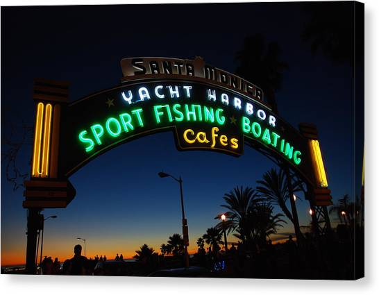 Santa Monica Pier Canvas Print - Santa Monica Pier Neon Sign by Hal Bowles