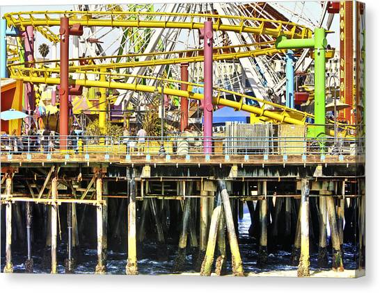 Santa Monica Pier Over And Under Canvas Print