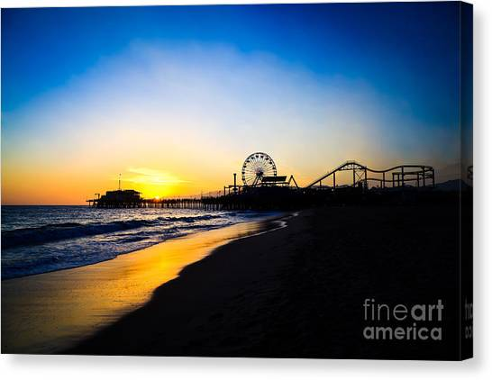 Santa Monica Pier Canvas Print - Santa Monica Pier Pacific Ocean Sunset by Paul Velgos