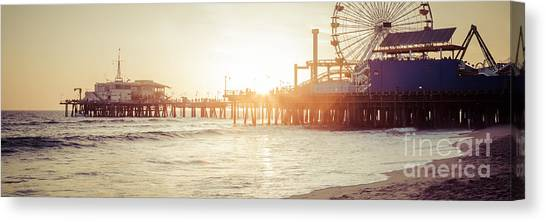 Santa Monica Pier Canvas Print - Santa Monica Pier Retro Sunset Panorama Photo by Paul Velgos