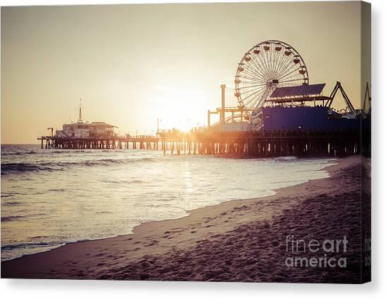 Wheels Canvas Print - Santa Monica Pier Retro Sunset Picture by Paul Velgos