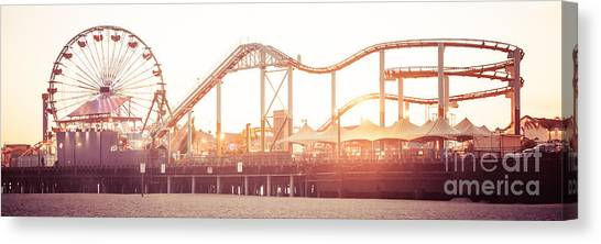 Vintage Canvas Print - Santa Monica Pier Roller Coaster Panorama Photo by Paul Velgos