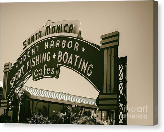 Santa Monica Pier Sign Canvas Print