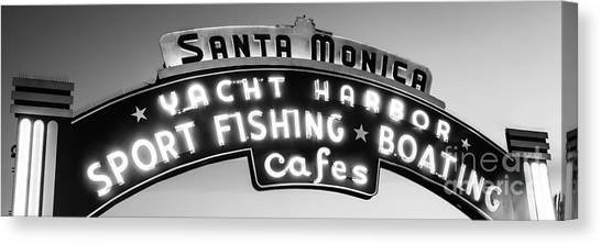 Santa Monica Pier Canvas Print - Santa Monica Pier Sign Panoramic Black And White Photo by Paul Velgos