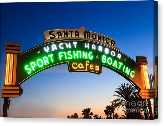 Santa Monica Canvas Print - Santa Monica Pier Sign by Paul Velgos