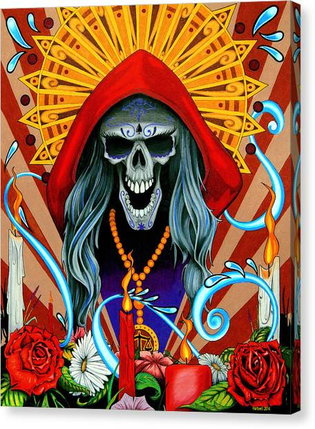 Prisma Colored Pencil Canvas Print - Santa Muerte by Steve Hartwell